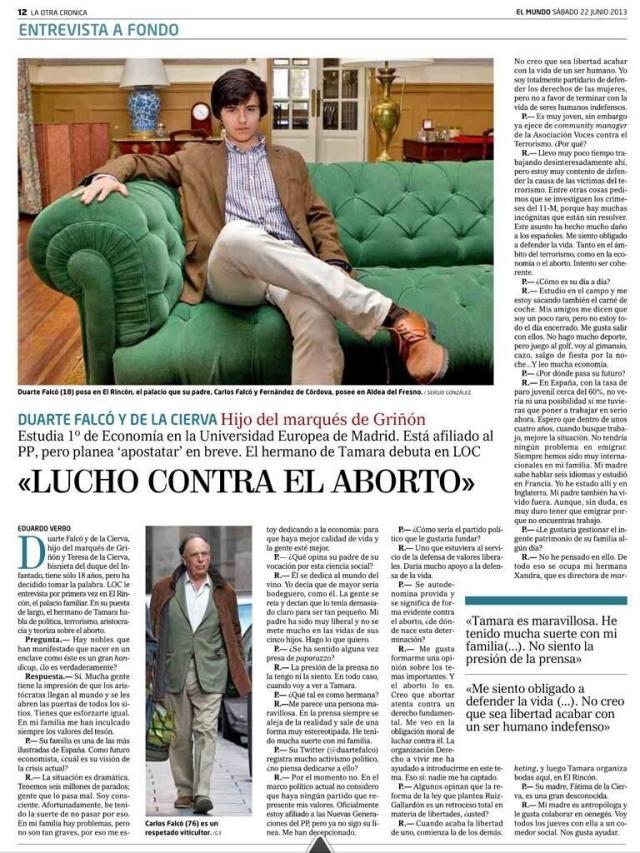Entrevista Duarte Falcó El Mundo